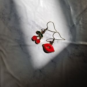 CHERRY KISS | Enamel Earrings Stainless Steel